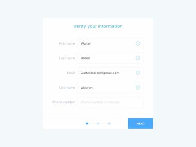 Account creation/registration progress bar form design form verify registration account creation