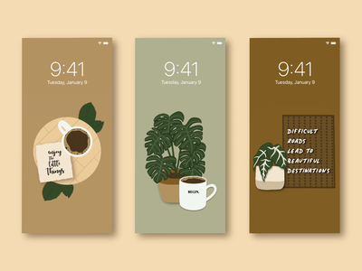 Fall Inspirational iPhone Backgrounds coffee plants fall background iphone graphic design design illustration dribbbleweeklywarmup