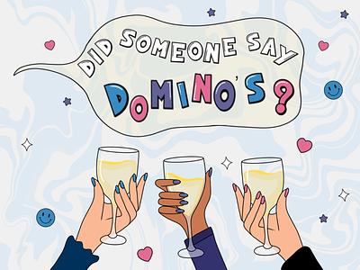 Domino's and Wine Appreciation Print pizza print sticker swirl wine graphic design illustration design