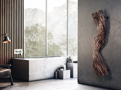 Ravel - decorative radiator copper elegant product design modern bathroom 3d rendering 3d modeling terma design award decorative radiator heater radiator
