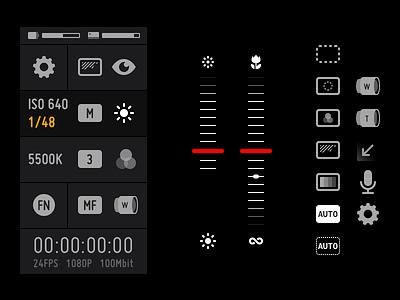 Mavis UI Components recording filmmaking video slider photo mobile ui icons film dark camera animation