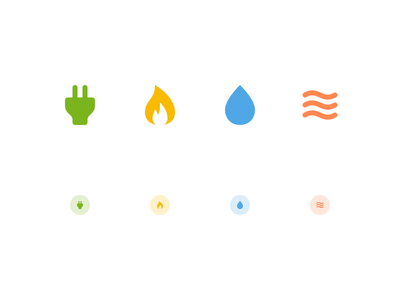 Sector icons dashboard mobile ui app set icon icons actionbar navigation heating gas water electricity