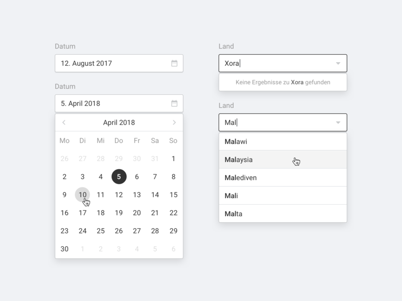 Inputs library drop down date picker input field web icon design system style guide