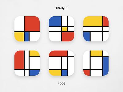DailyUI #005, app icon minimal daily challange dailyui 005 app icon mondrian ux ui dailyui