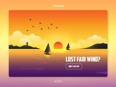 DailyUI #008, 404 page sunset gradient sailboats sea 404 page 404 illustration website web ux ui daily challenge dailyui 008 dailyui