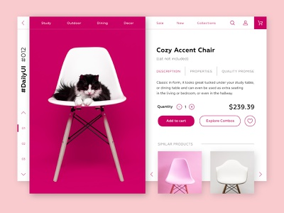 DailyUI #012, e-commerce shop dailyui 012 cat product page store shop furniture product e-commerce chair website daily challenge ux ui dailyui