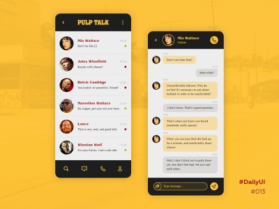 DailyUI #013, direct messaging tarantino royale with cheese ui ux mobile app mobile message app message dailyui challenge dailyui 013 dailyui