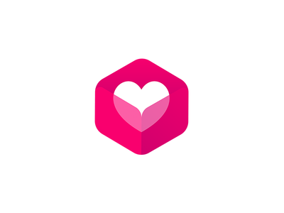 Love Box heart shapes hexa app logo magenta pink love box