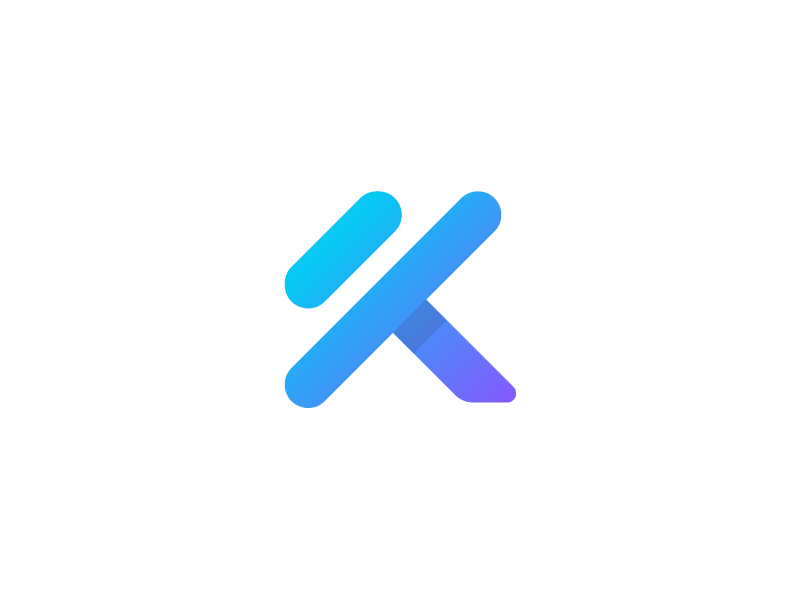 K + Dumbbell - Logo for Ai Fitness Mobile App sports monogram k 2d ehealth health sport exercises icon ai training personal gym sweden body fit run fitness dumbell trainer