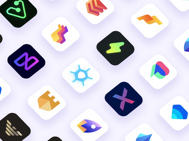 App Icons Collection #2 app gym castle colorful play armani startup rocket diamond chat bubble estates building song music fitness mark branding app icon 2d logo