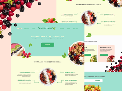 [Daily UI-003] Smoothie Landing Page shot dribbble pastel web dailychallenge healthy smoothie fruits landing page dailyui003 dailyui ux ui