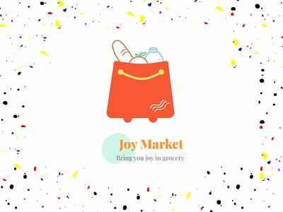 Joy Market Logo blue yellow orange cheerful joy digital commerce bright palette blush logodesign challenge typography illustration vector shot dribbbleweeklywarmup branding market logo