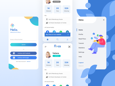 Flocs • Instantly share your virtual identity dailyui dailyui005 pitch deck design mvp clean social app socialmedia blue user experience userinterface project app icon branding logo mobile