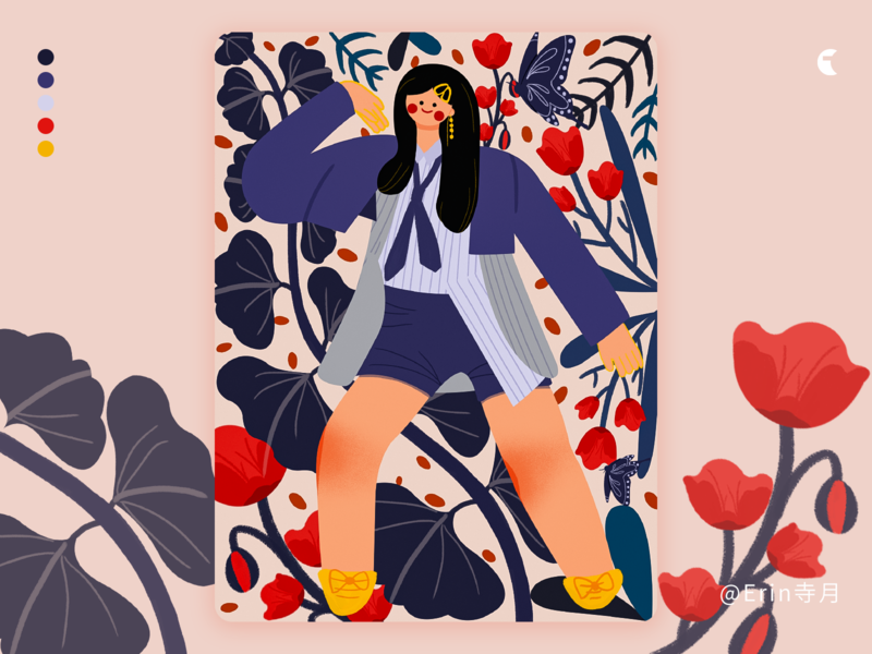 Kpop girl with flower flower illustration girl illustration illustration