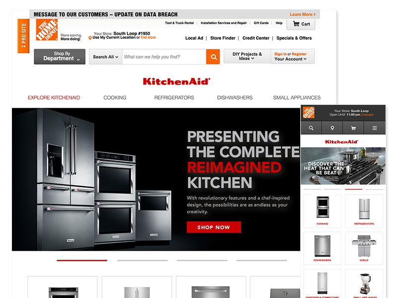 KitchenAid Home Depot Microsite Redesign home depot kitchenaid redesign ux ui