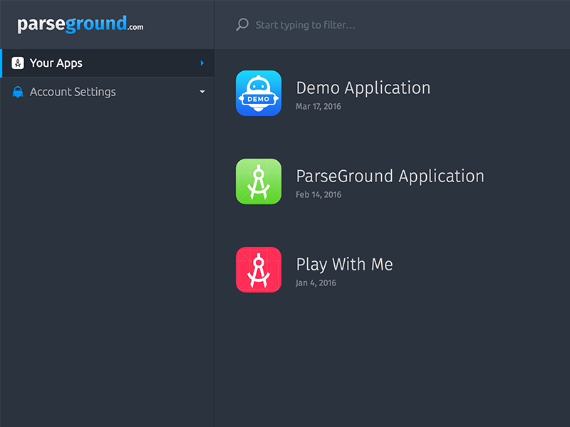 Parseground Dashboard App Listing app listing apps app web admin dashboard parse hosting parseground