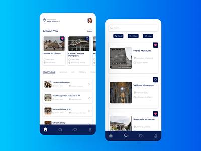 Museum App userinterface android ios museumapp museum exploration branding mobile application home screen ui app design