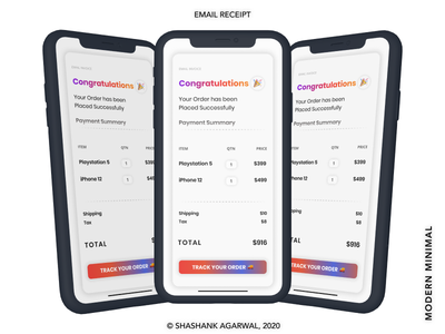 📧 Email Receipt   Modern Minimal UI   First Shot 🏀 creativework uidesign uxdesign productdesign minimalisim modern design ux ui minimal firstshot