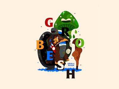Grobesh turtle mushroom graphic fantasy character design art illustrator vector digital art illustration