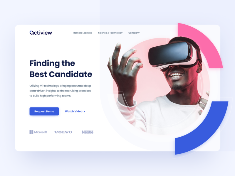 Website Design for VR Recruiting Service landing home service recruitment artificial intelligence ai hr vr hero section hero image hero uidesign uiux ux ui website design web design webdesign website web
