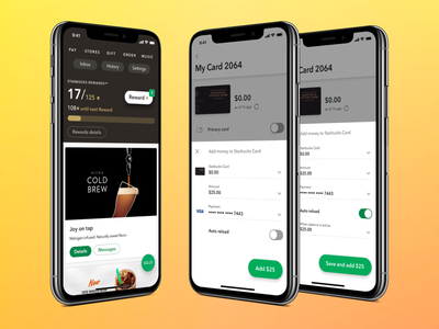 Redesigned feed cards and Add money bottom sheets ux app starbucks ios