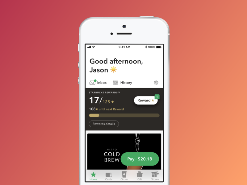 Five dot oh, SE-friendly ui design ux starbucks app ios
