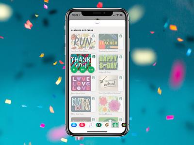 iMessage Gifting for Starbucks gift card gift design ux starbucks app imessage ios