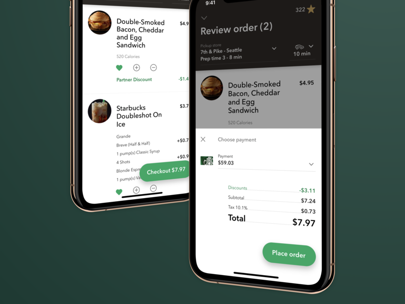 Order Checkout 5.4 ui design ux app starbucks ios