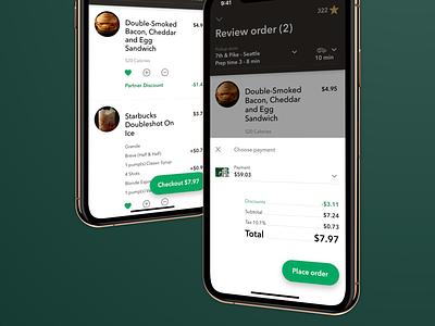 Order Checkout 5.4 ui design ux app starbucks ios
