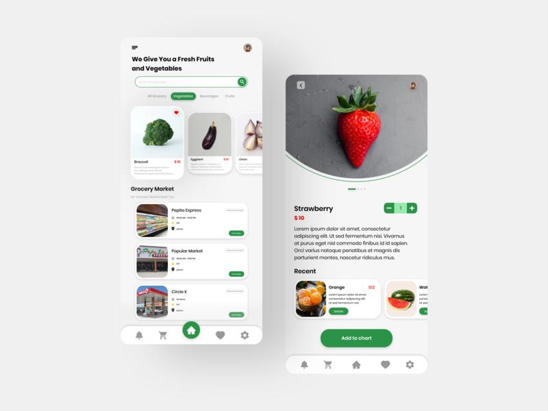 Grocery Shop Mobile App flat app ui ui ux design ui design