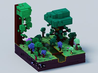 Voxel World - Gargantuan Forest river woods trees forest world voxel 3d