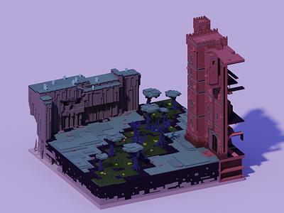 Voxel World - The Undead Swamp evil lair mangrove magic undead swamp cliff castle voxel 3d