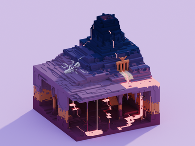 Voxel World - Mount Infernus cavern lava cave hades hell skeleton dragon volcano voxel 3d