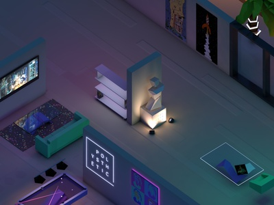 The Polysthetic Lab 2018 low poly room studio illustration brand 3d