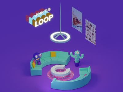 """""""Join the Loop"""" Sample App Intro Screen bulb neon light couch circular loop neon cactus illustration mobile app mobile animation 3d"""