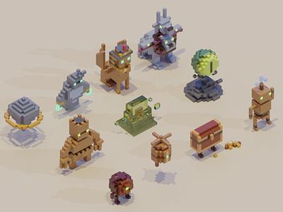 Adventure Mini-Figs - Arcane characters arabia egypt slime robot treasure video game video rpg voxel game 3d
