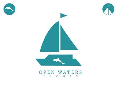 Open Waters Yachts logomaker iconography logodesignchallenge logodesignersclub logology logodesign logodesigner dolphin logo logodesigns dolphin yachtlogo yachtlife vector design dailylogo branding logo dailylogochallenge