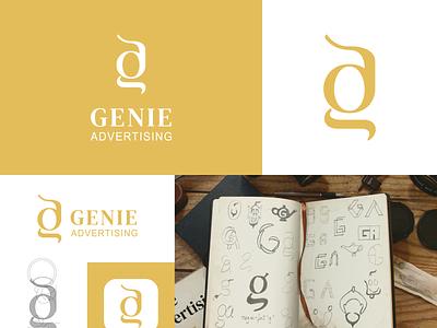 Genie Advertising Logo Design graphic design dailylogochallenge monogram business logo creative logo advertising markering ad logo advertisement logo ad agency logo marketing logo design a logo logodesigner logodesign dailylogo logo