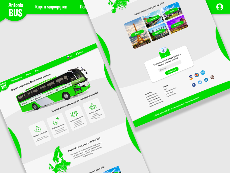 Antonio Bus branding routes cities tickets europe travelling buses main page