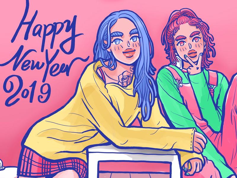 new year girls illustration