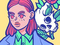 Girl and skull