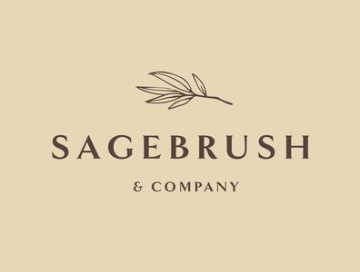 Sagebrush & Company logo design minimalist logotype graphic designer brand vector minimal earthy leaf logo hand drawn organic branding elegant brown sage botanical logo candle logo