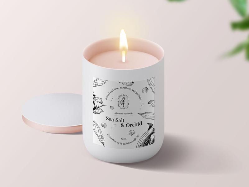 Hand-drawn label design graphic designer brand illustration print design logo branding package design label design organic elegant candle botanical illustration hand drawn candle label label