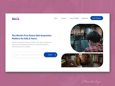 Skilly app website ux ui minimal web design