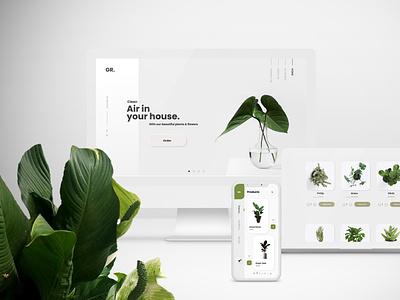 Plants store Website & Mobile App Design plants store plant ux ui minimal design flat branding app