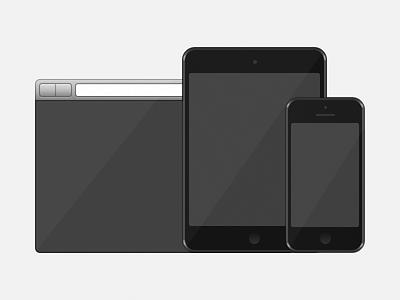 Three devices, an illustration illustration ipad iphone vector portfolio ipad mini iphone 5