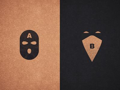 A-Side B-Side black and gold ski mask hood logo homies illustration icon