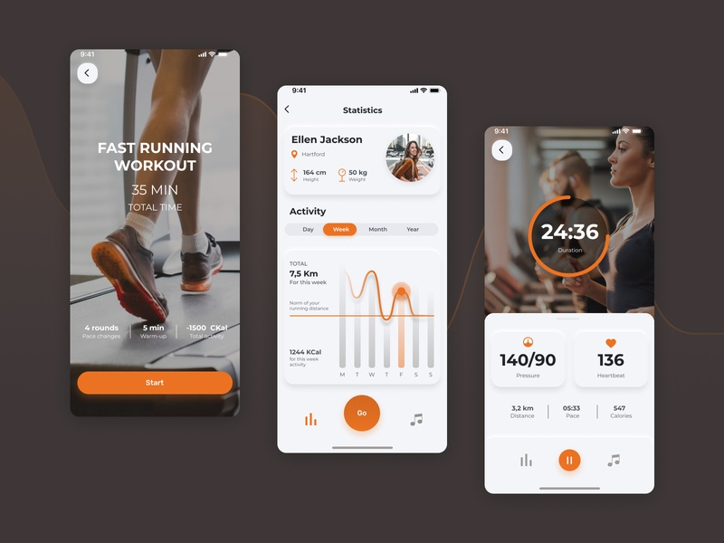 SmartCardio – app for treadmill workout app workout sport run ios interface gym app exercise concept application activity minimal app ux ui design
