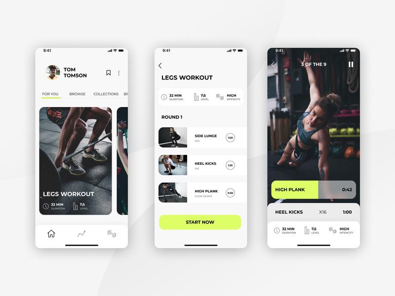 Workout App tracker app health plank white theme ux ui sport minimal ios interface gym app exercise design concept application app activity