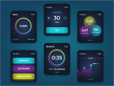 Fitness Apps For Smartwatch cardio run watch app watch uiux ui sport minimal ios interface gym app exercise design concept application app activity